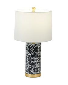 TRIDENT 23in Patterned Ceramic Table Lamp