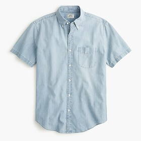 J. Crew Short-sleeve stretch chambray shirt in org