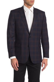 Brooks Brothers Navy Plaid Two Button Notch Lapel