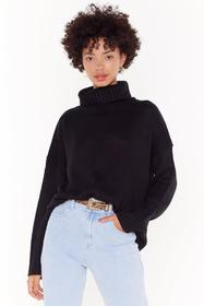 Nasty Gal Black Don't Cry Because Knits Over Turtl