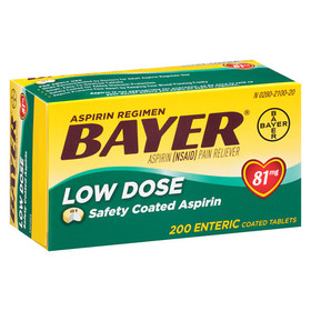 Bayer Aspirin Low Dose, 81 mg Safety Coated Tablet