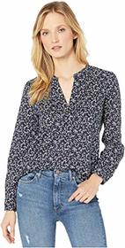 Vince Camuto Long Sleeve Ditsy Vines Split-Neck Bl