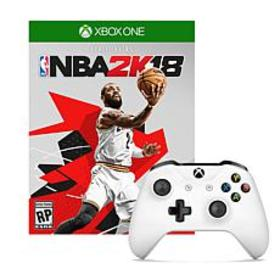 """Xbox One White Controller with """"NBA 2K18"""" Game"""