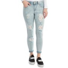 ONE 5 ONE Mid-Rise Ripped Stitch Cropped Skinny Je