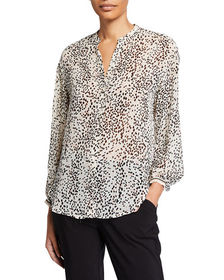 Max Studio Printed Long Sleeve Button Down Top
