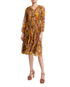 Laura Ashley Floral-Fit Ruffle Tiered Dress