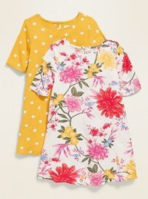 Printed Elbow-Sleeve Swing Dress 2-Pack for Toddle