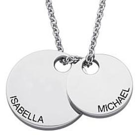 Stainless Steel Engraved Couples Name Double Disc