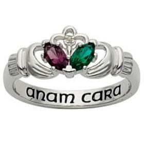 Sterling Silver Couples Birthstone and Genuine Dia