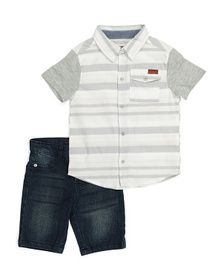 7 FOR ALL MANKIND Little Boys Woven And Denim Shor