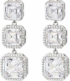 Nina Nina - Haloed Asscher CZ Drop Earrings. Color