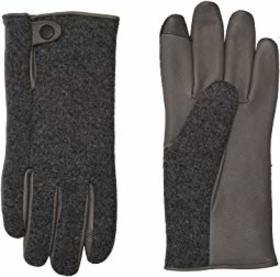 UGG Snap Tab Fabric Tech Gloves with Sherpa Lining