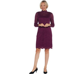 """As Is"" Isaac Mizrahi Live! Petite Lace Mock Neck"