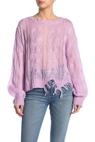 KENDALL AND KYLIE Ripped Knit Sweater Top