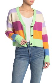 KENDALL AND KYLIE Colorblock Stripe Cardigan