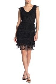 KENDALL AND KYLIE Polka Dot Tiered Ruffle Dress