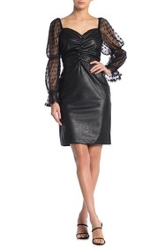 KENDALL AND KYLIE Ruched Puff Sleeve Dress