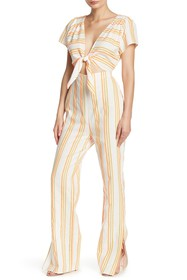 KENDALL AND KYLIE Tie Front Colorblock Stripe Jump