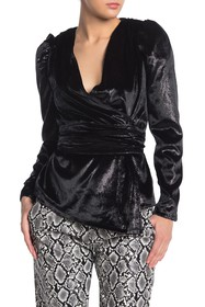 KENDALL AND KYLIE Metallic Stitch Puff Sleeve Wrap