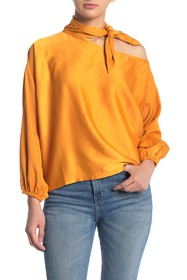 KENDALL AND KYLIE Satin Tie Neck Blouse