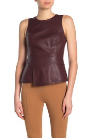 BCBGMAXAZRIA Faux Leather Sleeveless Top