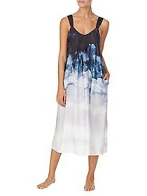 Donna Karan Printed A-Line Nightgown WATER COLOR