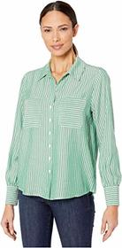 Vince Camuto Long Sleeve Two-Pocket Pinstripe Refr