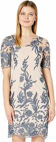 Tahari by ASL Short Sleeve Embroidered Shift Dress