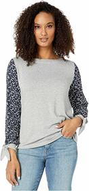 Vince Camuto Tie Sleeve Mix Media Cozy Top