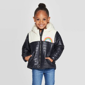 Toddler Girls' Solid Midweight Puffer Jacket - Cat