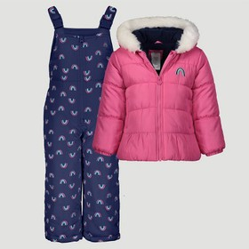 Toddler Girls' Rainbow Snowsuit with Bib - Just On