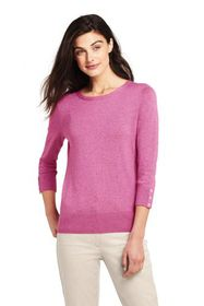 Lands End Women's Supima Cotton 3/4 Sleeve Sweater