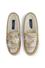 Lands End Women's Snowflake Clog Moccasin Slippers
