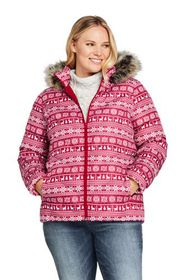 Lands End Women's Plus Size Print Faux Fur Hooded