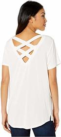 Tribal Short Sleeve Lace-Up Top