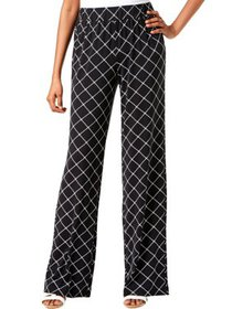 NY Collection Womens Petites Print Pull On Wide Le