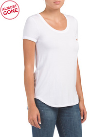 CUPIO Rolled Cuff Tee With Round Hem