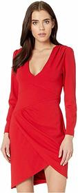 BCBGMAXAZRIA Long Sleeve V-Neck Dress
