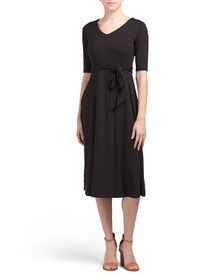 NICOLE MILLER Elbow Sleeve V-neck Midi Dress