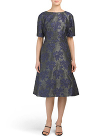 TERI JON Short Sleeve Jacquard Dress
