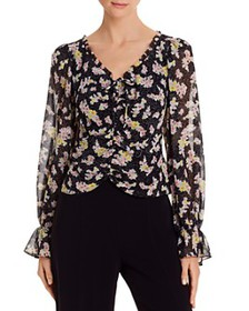 Cinq à Sept - Kimberly Ruched Floral Print Top