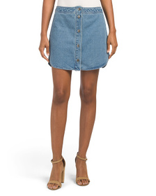 BB DAKOTA Juniors Button Front Denim Skirt