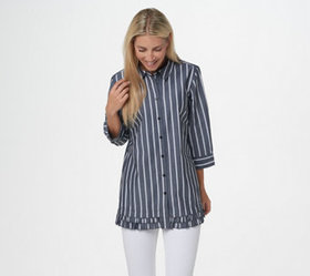 """""""As Is"""" Joan Rivers 3/4- Sleeve Striped Shirt with"""