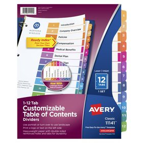 Avery Customizable Table of Contents Dividers, Rea