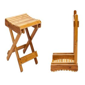 Zimtown 100% Natural Bamboo Folding Stool For Shav