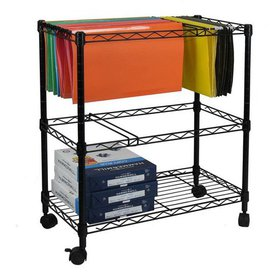 Ktaxon Portable 2-Tier Metal Rolling File Cart, Bl