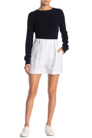 Theory Stripe Pleated Linen Blend Shorts
