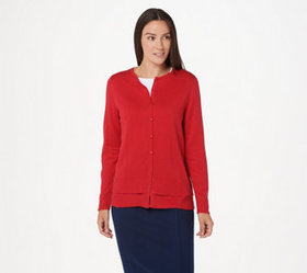 """""""As Is"""" Joan Rivers Button Front Cardigan with Hem"""