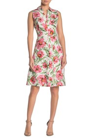 T Tahari Floral Printed Collared Linen Blend Dress