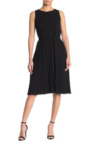 T Tahari Solid Pleated Belted Dress